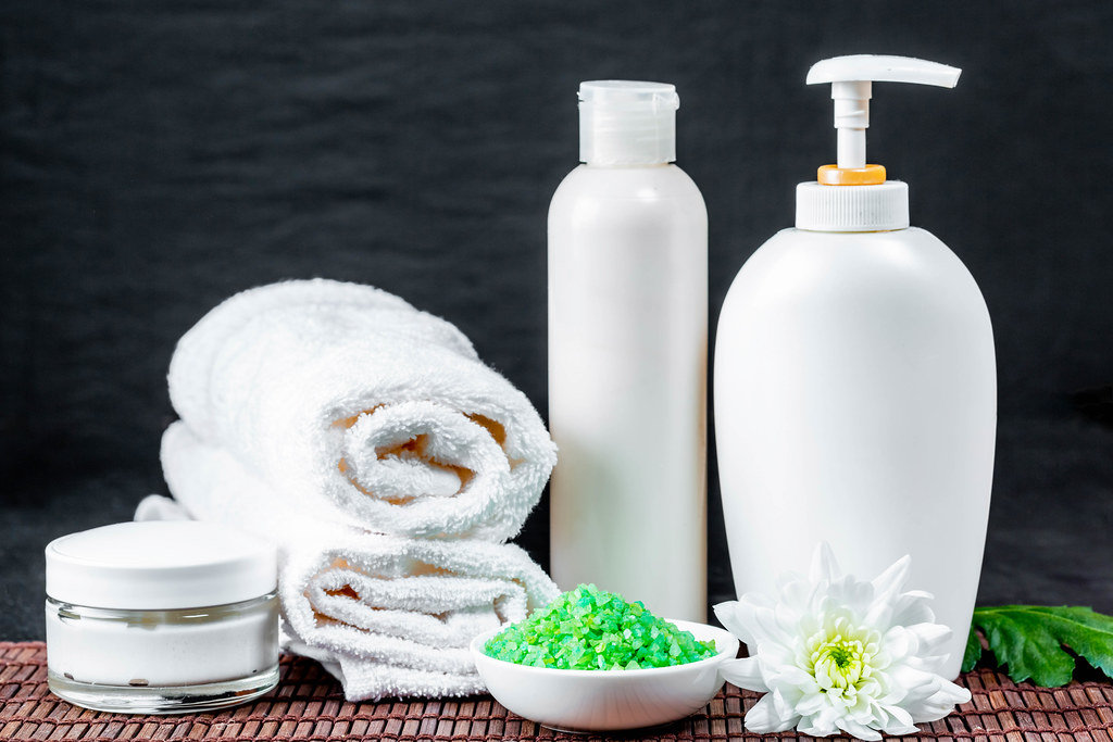 Set of cosmetics and towels for body care and beauty