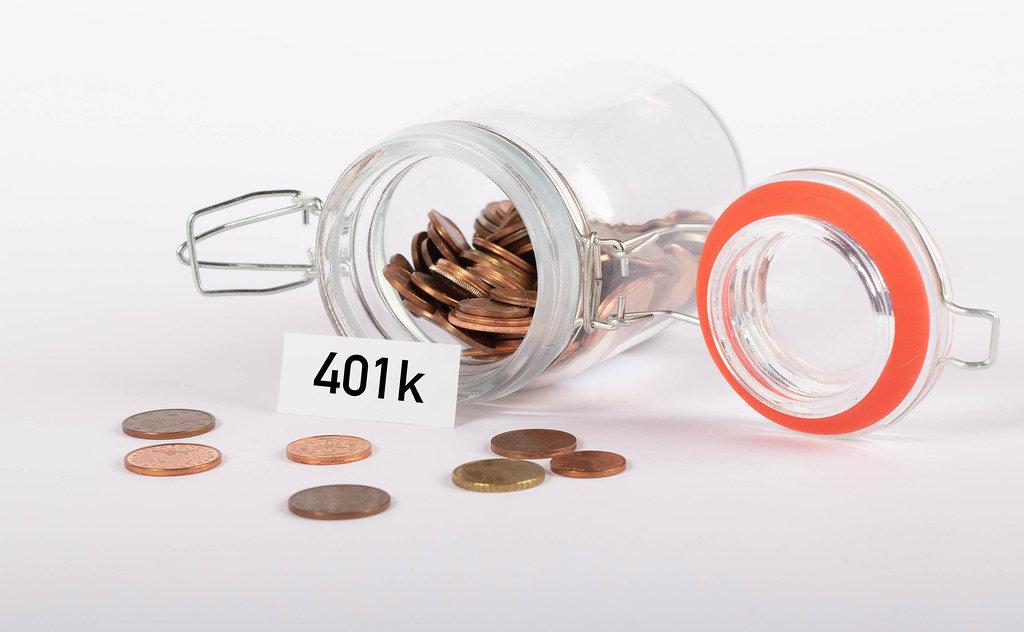 Money jar with 401k note