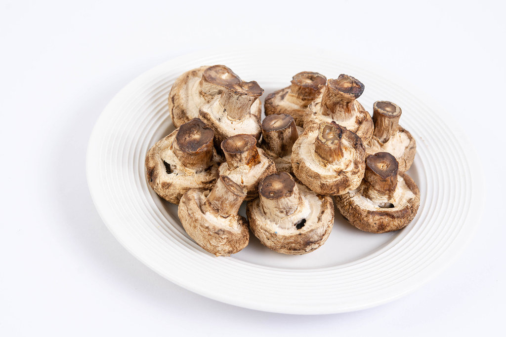 Grilled Mushrooms served on the plate isolated above white background