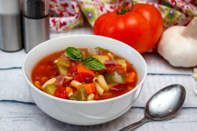 misnestrone Soup in a White Bowl