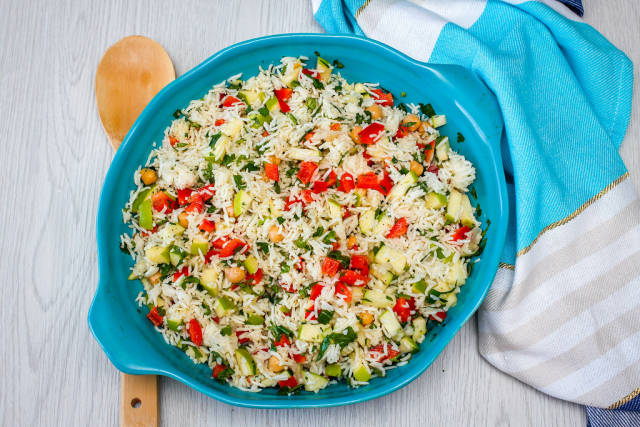 Rice Salad with Chickpea, Pepper and Cucumber Top View