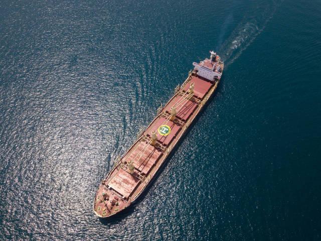 Tanker transporting oil across the Bosphorus. Aerial photo