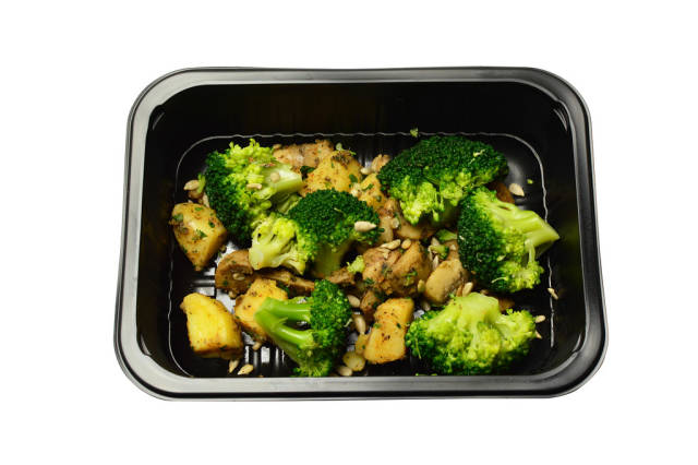 Baked potatoes with mushrooms and broccoli