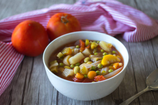 Minestrone Soupe in a White Bowl