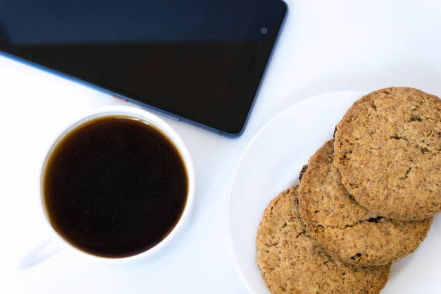 Close Up on The Cookies and Coffee On The White Background