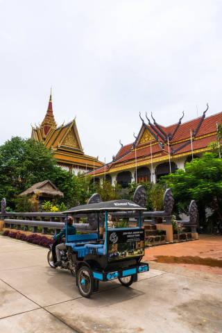 Tuk Tuk in front of Preah Prom Rath Temple in Siem Reap