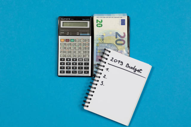 Calculator with 2019 budget list