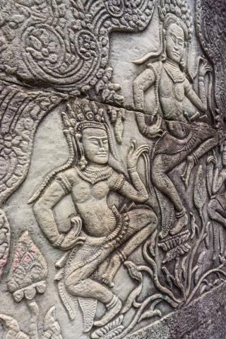 Dancing Apsaras Engraving at Bayon Temple in Siem Reap