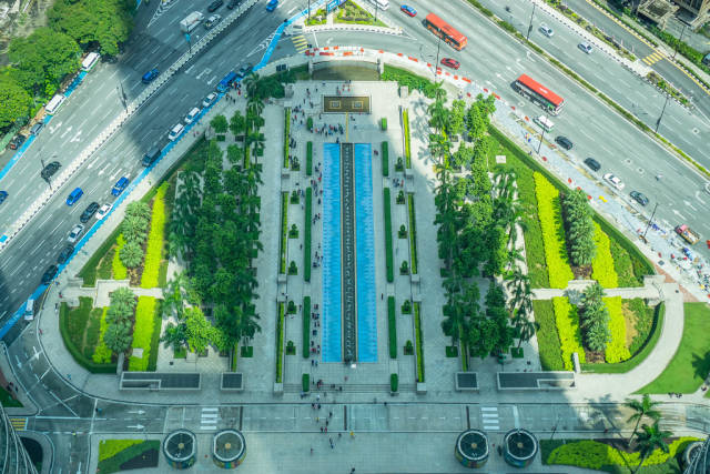 View from the Skybridge of Petronas Twin Towers in Kuala Lumpur