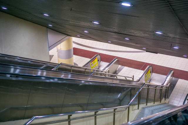 Escalators and Stairs at a Metro Station in Kuala Lumpur