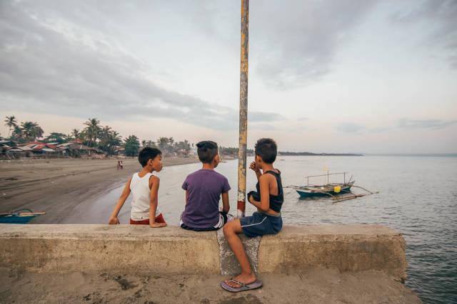 Three kids enjoying the view, Iloilo