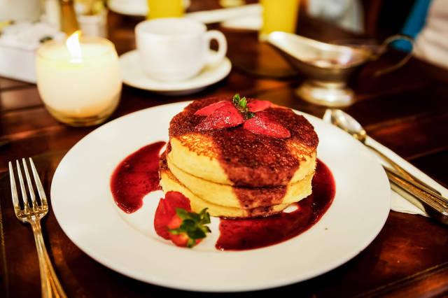 Pancakes on a table setup