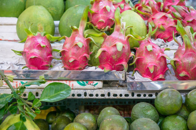 Pitaya and other Fruits sold at Ben Thanh Market in Saigon