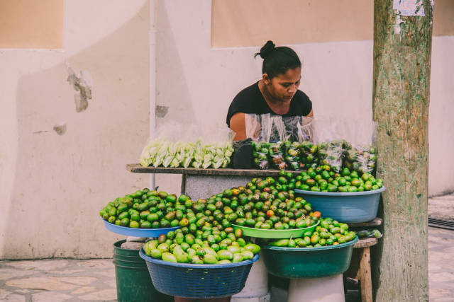 A Woman Selling Mombins and Mangoes in the Street