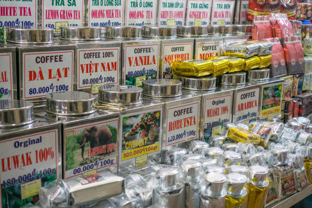 Huge Variety of Coffee and Tea offered at Ben Thanh Market in Saigon