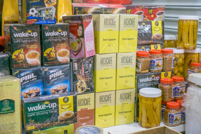 Instant Coffee and other Foods at Tourist Market in Ho Chi Minh City