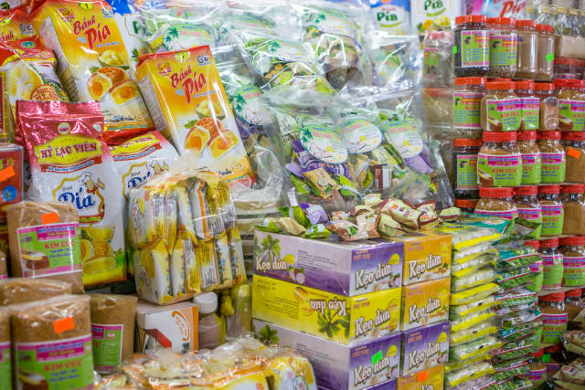 Cocounut Candy, Shrimp Salt and Durian Cake at Ben Thanh Market in Saigon
