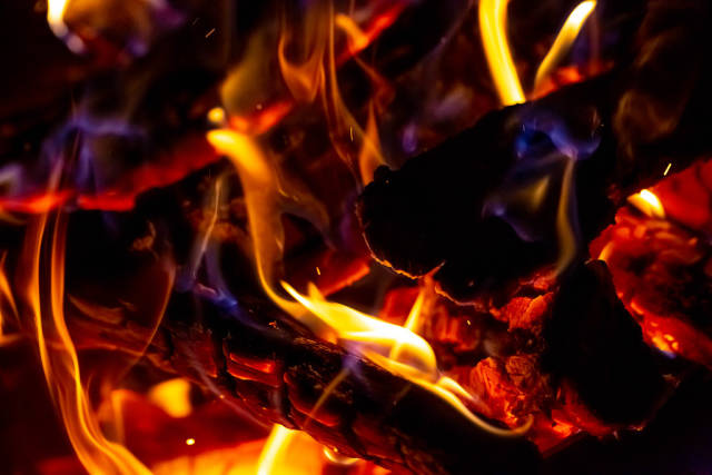 The fire is burning