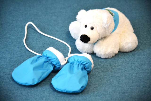 Childrens mittens and white bear