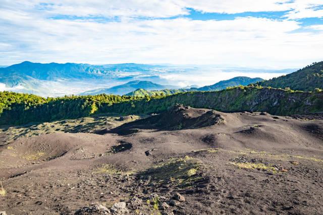 Beaturiful view from Pacaya Volcano to Lake Atitlan Guatemala
