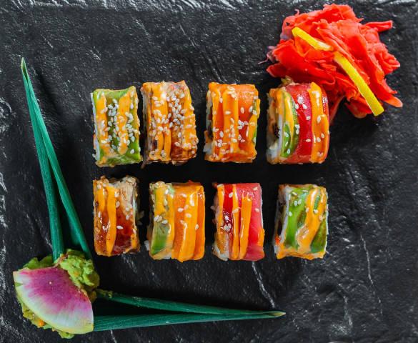 Sushi rainbow dragon