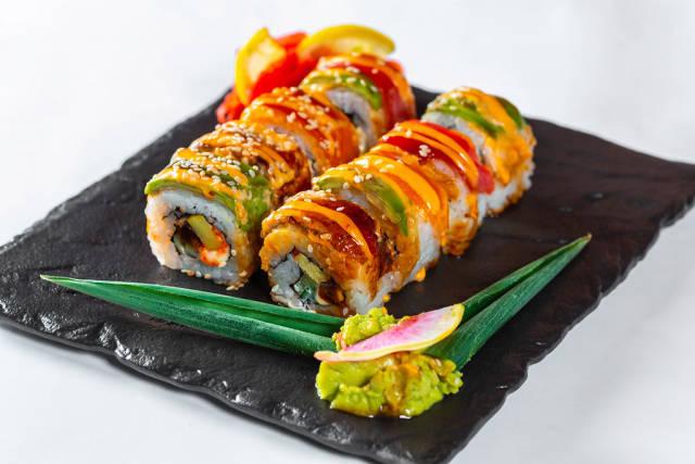 Sushi Set on black stone slate