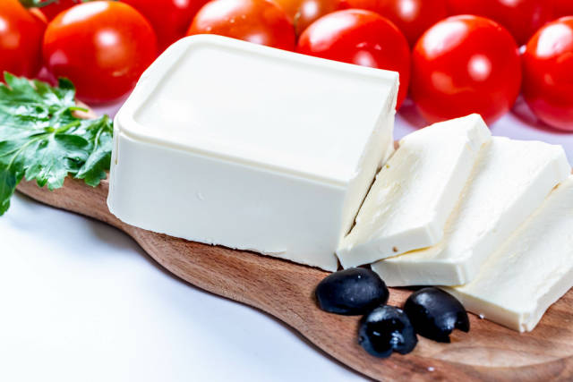 Feta cheese with black olives and cherry tomatoes