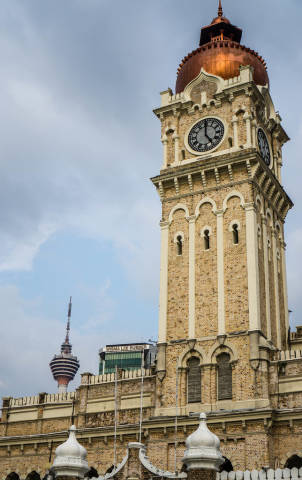 Sultan Abdul Samad Building with KL Tower in the Background in Kuala Lumpur