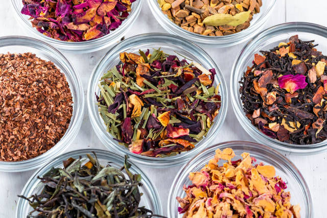 Collection of many different types of tea
