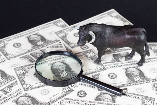 Black bull with magnifying glass on dollar banknotes