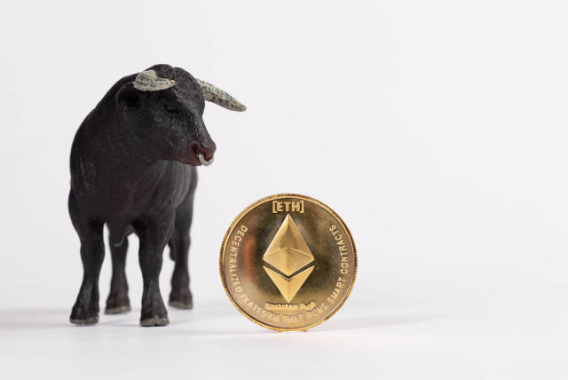 Big black bull with Ethereum coin isolated on white background