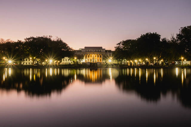 A view of the Capitol Lagoon during sunset