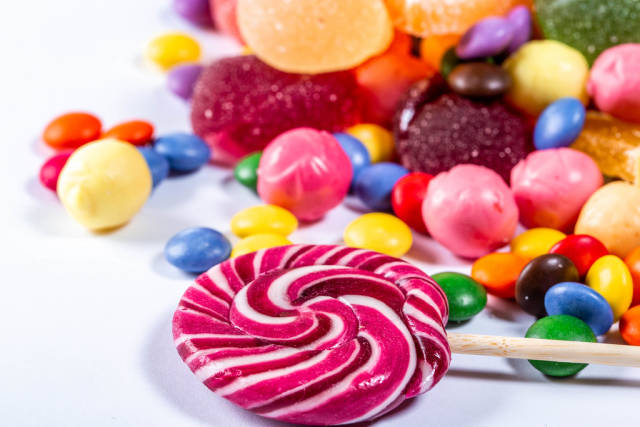 Colorful candies, lollipops and marmalade