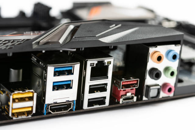 USB Lan and Audio connections on the Motherboard