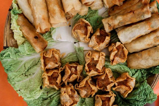 Flatlay shot of fried dumplings and shanghai rolls