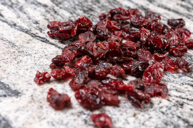 Dried Cranberries on the grey marble