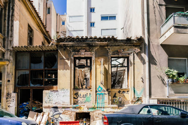 Abandoned building in the street of Athens