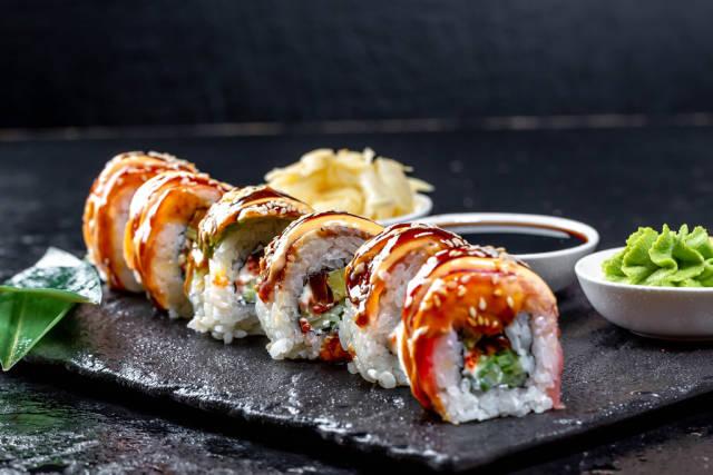 Close-up of sushi rainbow dragon