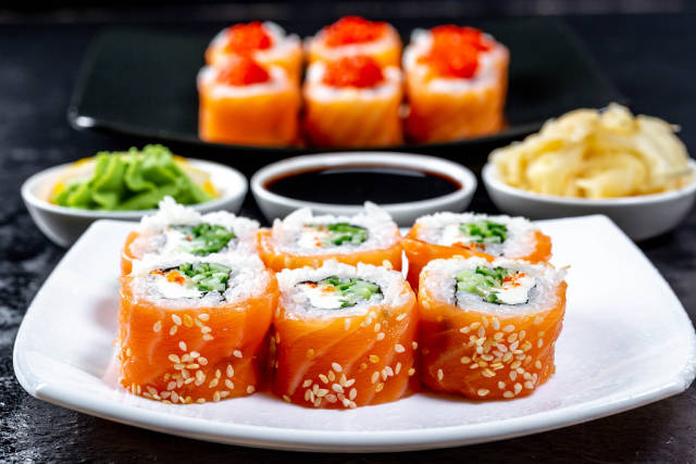 Sushi with pickled ginger, wasabi and soy sauce