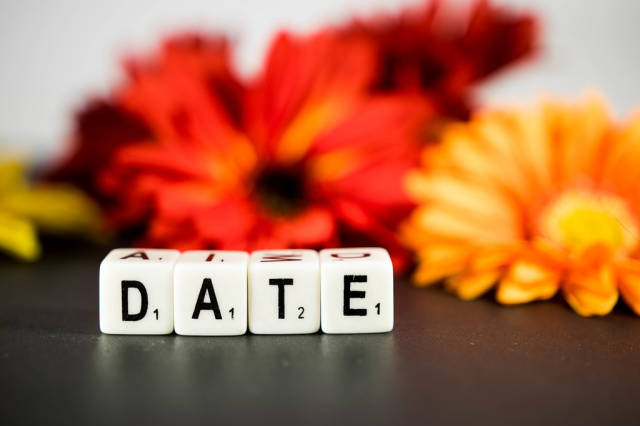 Word DATE with flowers on the background