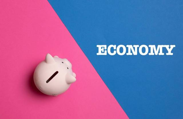 Piggy bank with Economy text