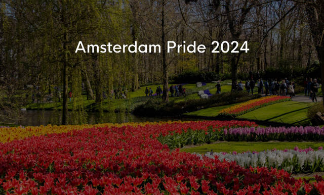 """Blooming red and yellow tulips in Keukenhof garden with visitors, next to title  """"Amsterdam Pride 2024"""