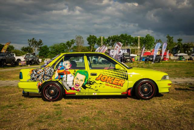 Joker decals on a Nissan Sentra