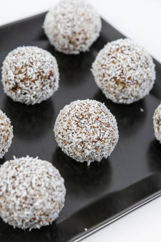 Energy Balls with Date Palm Almonds Walnuts and Coconut
