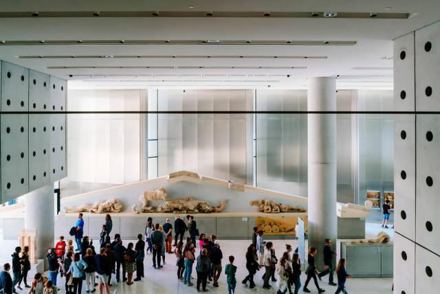 Overlook of the interior of Bernard Tschumi Acropolis Museum