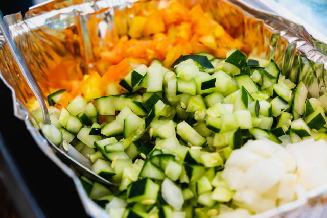 Chopped cucumber for salad dressing