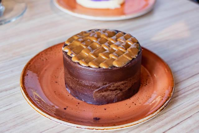 Moist chocolate cake with mocha icing