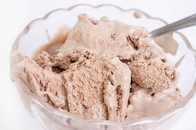 Chocolate Ice Cream served in the bowl
