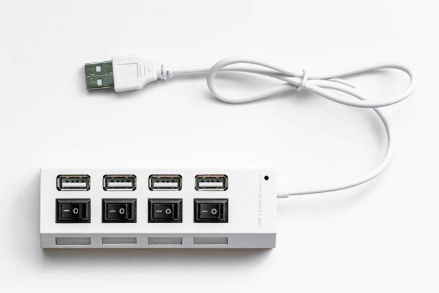 USB hub on white background