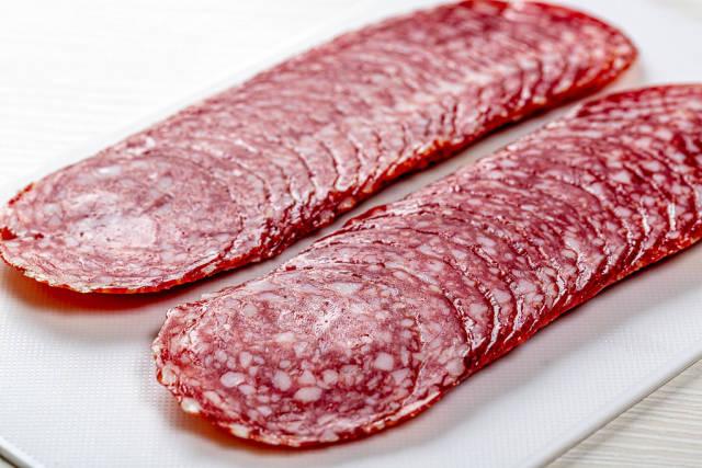 Sliced smoked sausage, close up